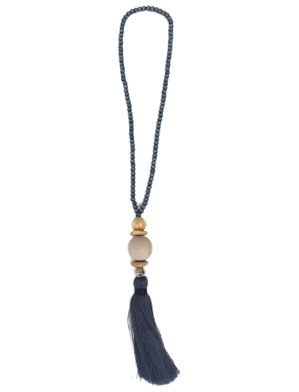 Gilligan Circle Bead Short Tassel Necklace