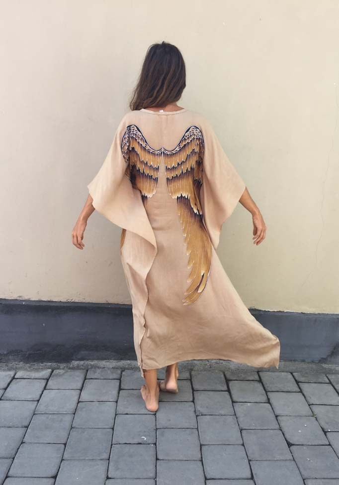 Short Long Angel Wing Viscose Caftan by Warriors of the Divine