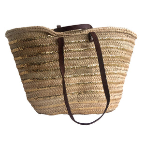 Straw Market Basket with Sequin Stripes