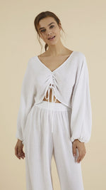 Gaia Drawstring Crop Top White