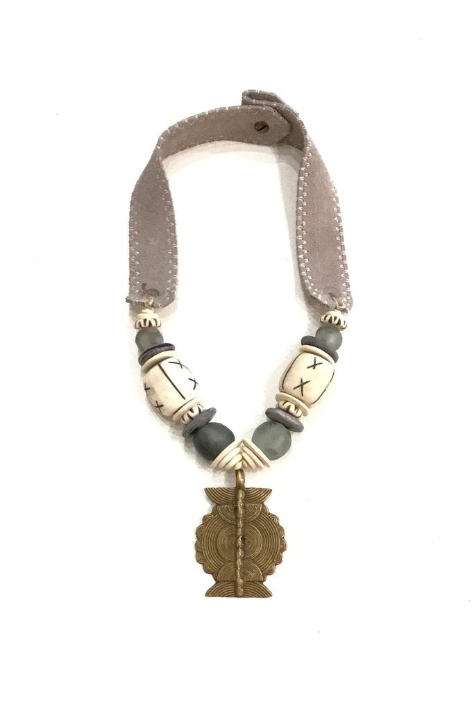 MEX Mid Brass Pendant Necklace | Gray + Gray / Lt. Grey
