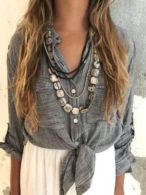 Gray Layer Necklace Set