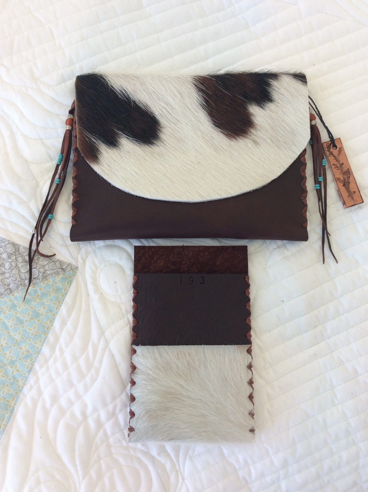 #193 Brown leather w/HOH flap and cell phone holder