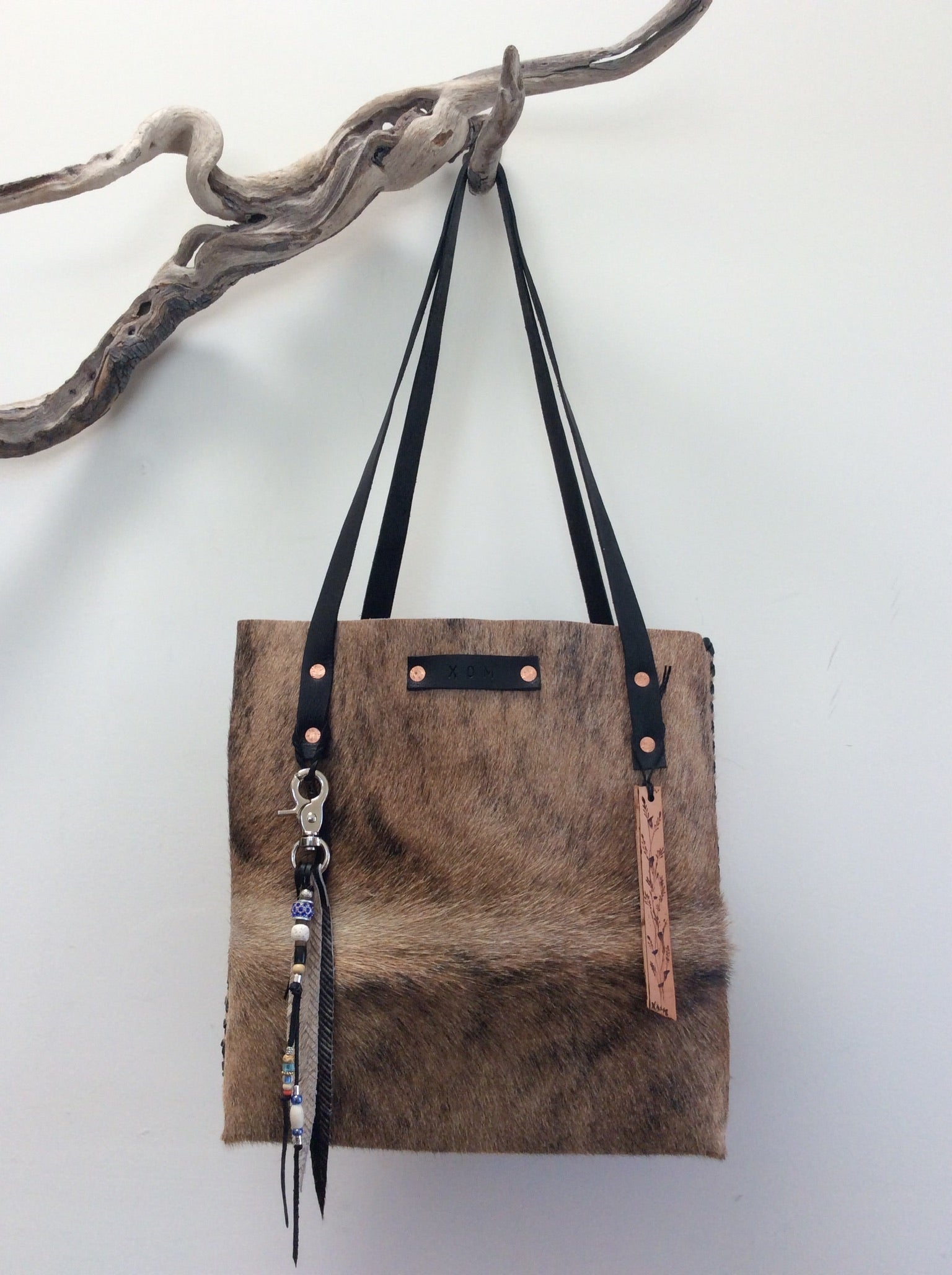 #208 Brown/ Blond hair on cowhide tote