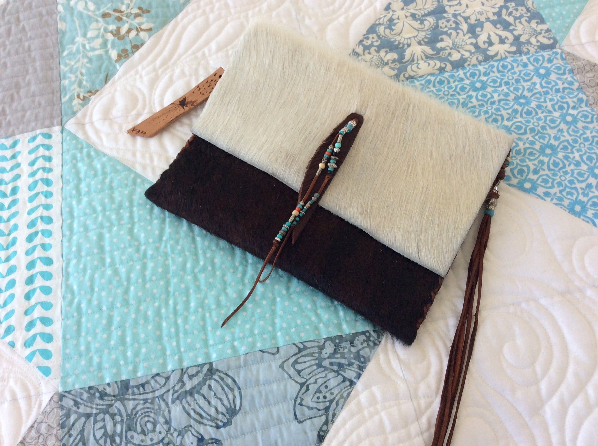 #209 Brown leather w/ White hair on cowhide flap Clutch