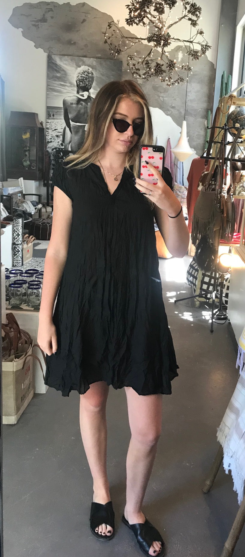 Cap sleeved Ella dress in black cotton