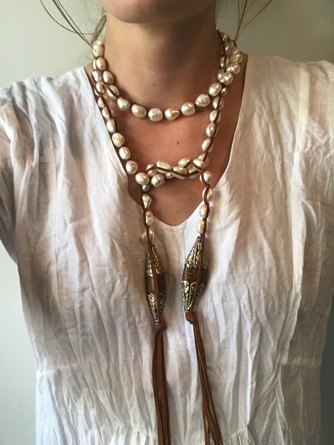 #7 Med. White Pearl Necklace w/ Vintage Tibetan Wood