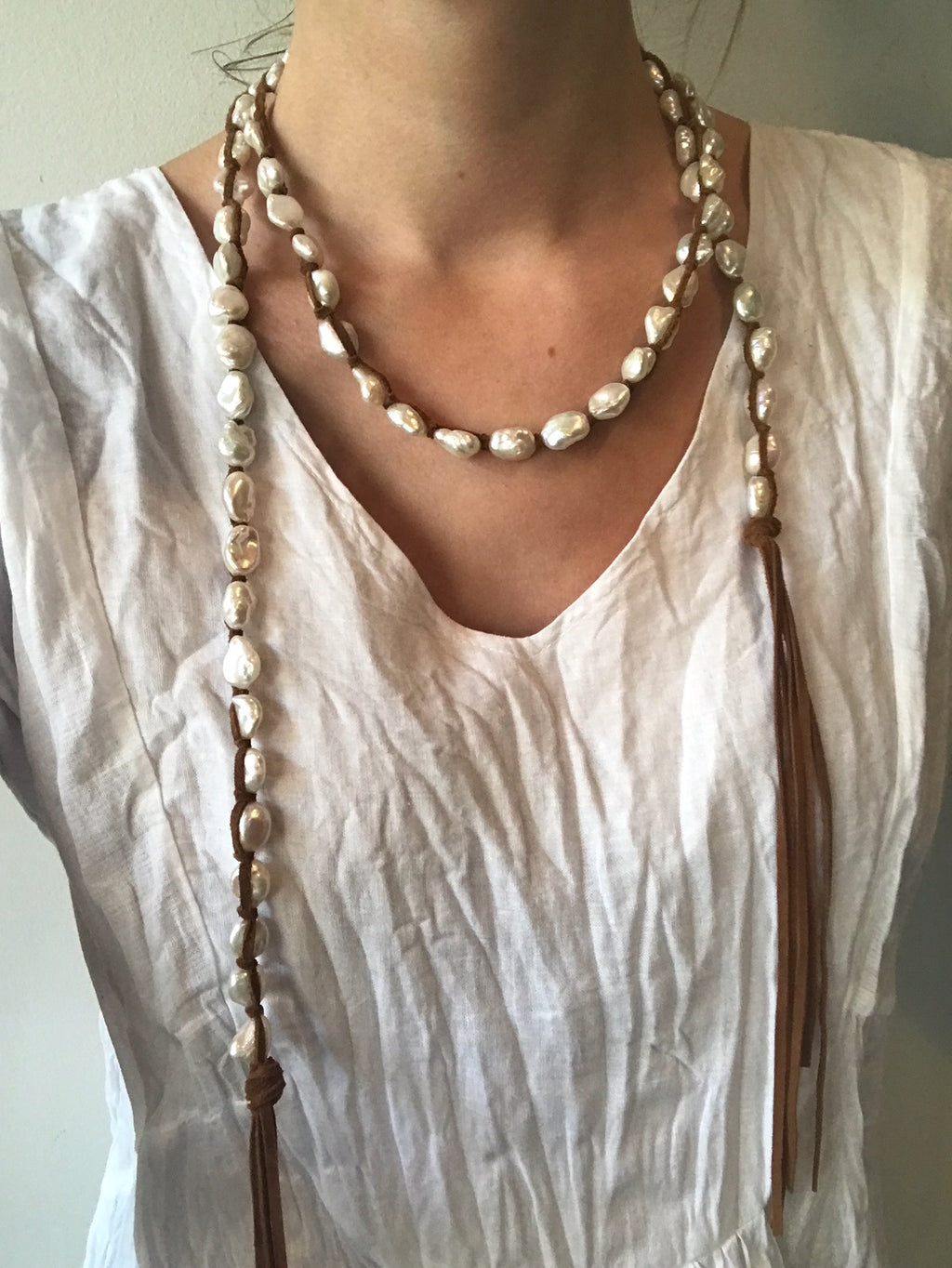 #3A Medium White Pearl Necklace
