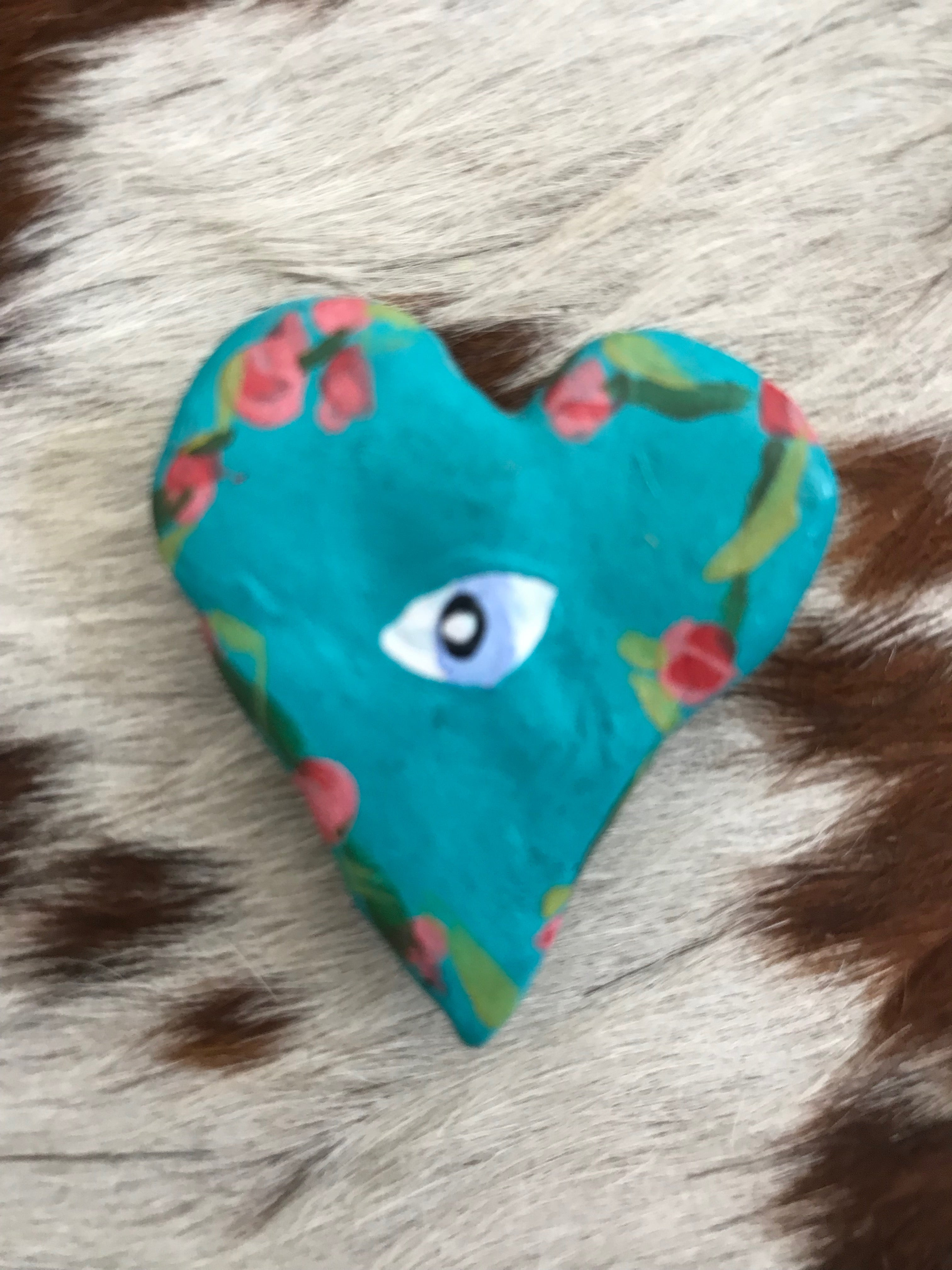 Turquoise Heart with Roses/ Evil Eye Magnet