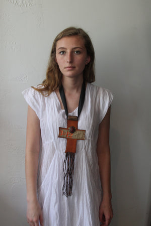Nomad Chic Leather Cross necklace.  Made in Morocco.
