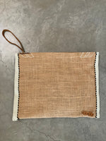 Vintage Burlap Pouch with White/Black Metcal Side Trim