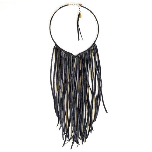 Leather Fringe Biker Collar