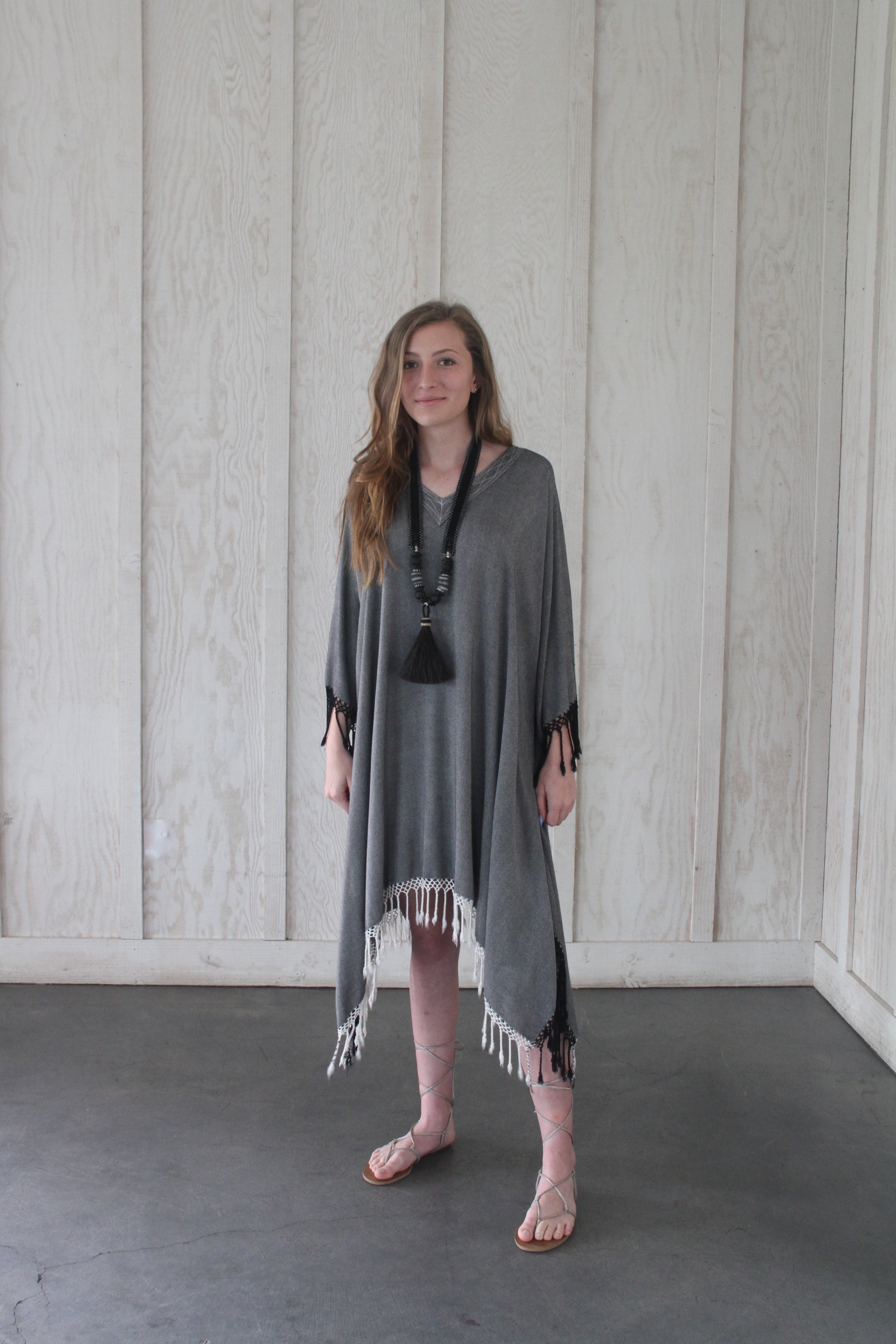 Marrakech Grey Fringe Kaftan