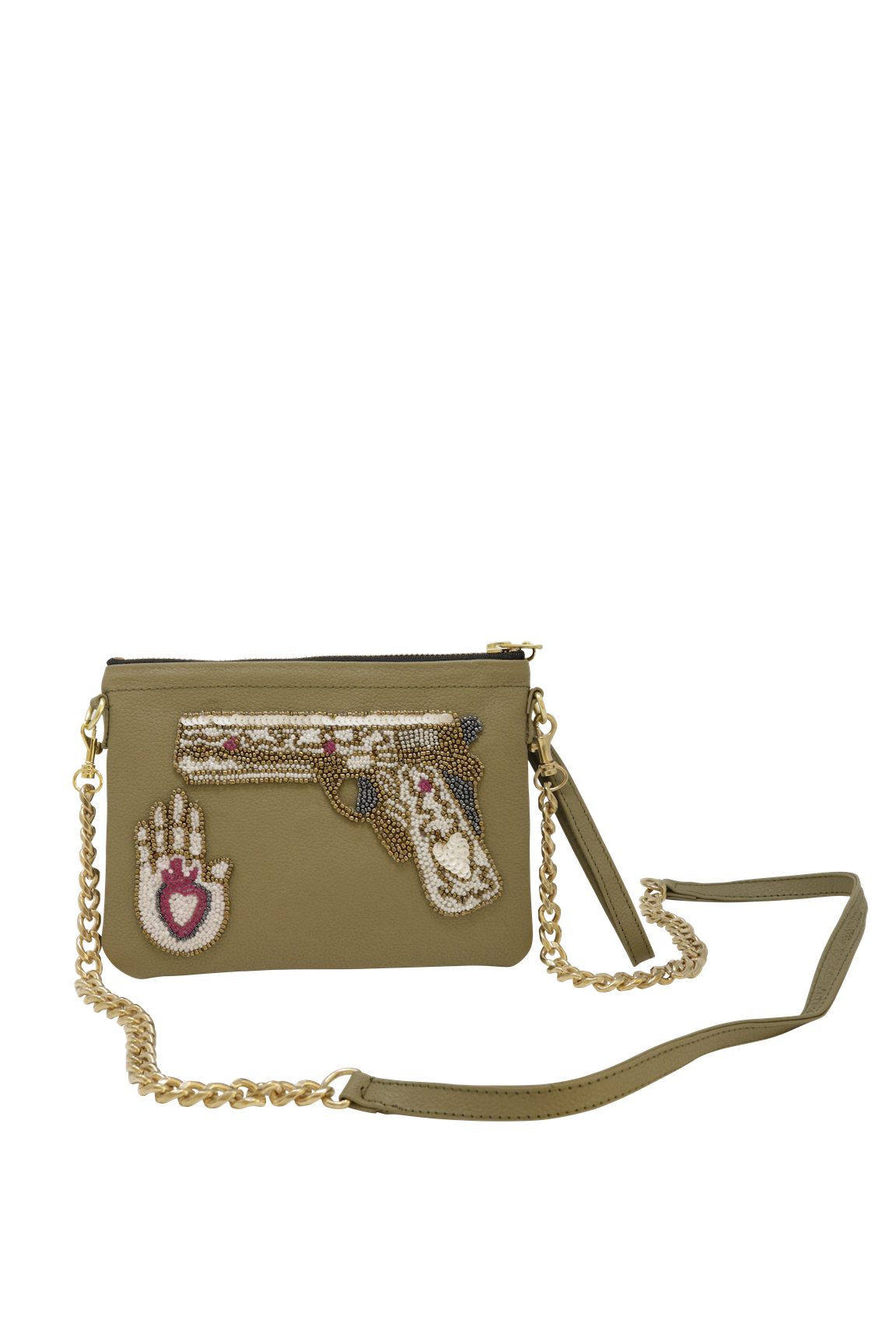 Small Olive Love Not Guns Crossbody Bag