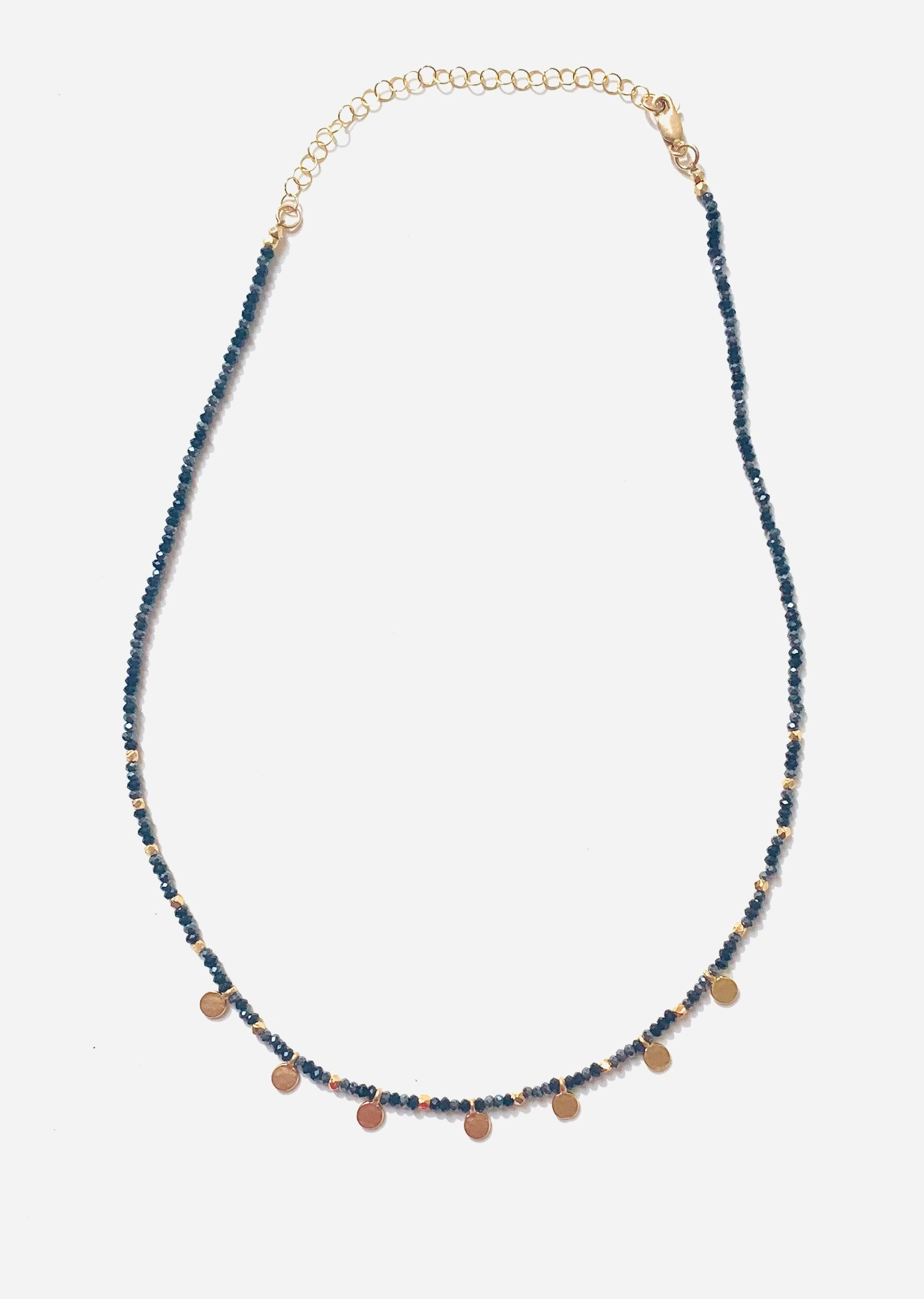 Navy + Gold Disc Necklace