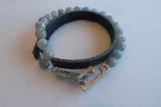 Labrodite & Leather Wrap Bracelet by Allie & Me