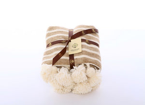 Australian Wool Pom Pom Blanket Throw