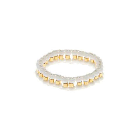 Narrow Woven Ring - White/Gold by Sidai Designs
