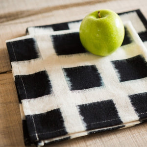Handwoven Double Ikat Checked Table Runner in White by Small Gunns