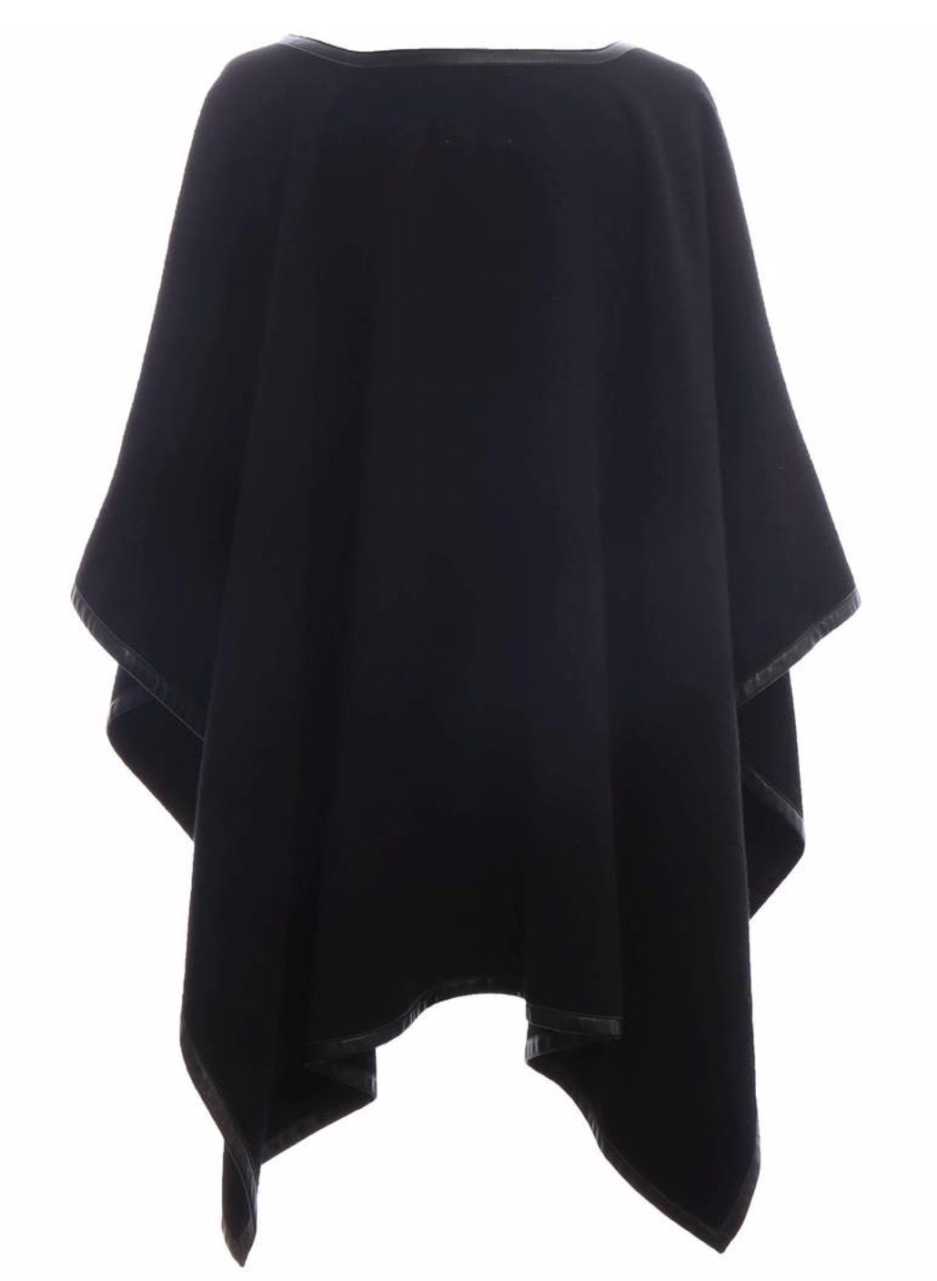 Black Leather Trim Tassel Poncho