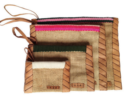 Vintage Burlap Pouch with Leather Side Trim by Dutzi