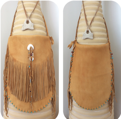 MEX #13 Tan Fringed Shoulder Bag by XOM