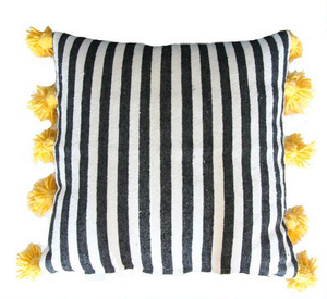 Striped Moroccan cotton striped pillow cover with pom poms