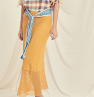 Escvdo Olivana skirt in mustard. Made in Peru.