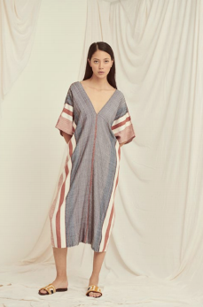 Escvdo Wasi dress in navy & brick handwoven cotton. Made in Peru.