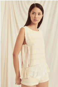Escvdo Vilca top in handwoven ivory cotton. Made in Peru.