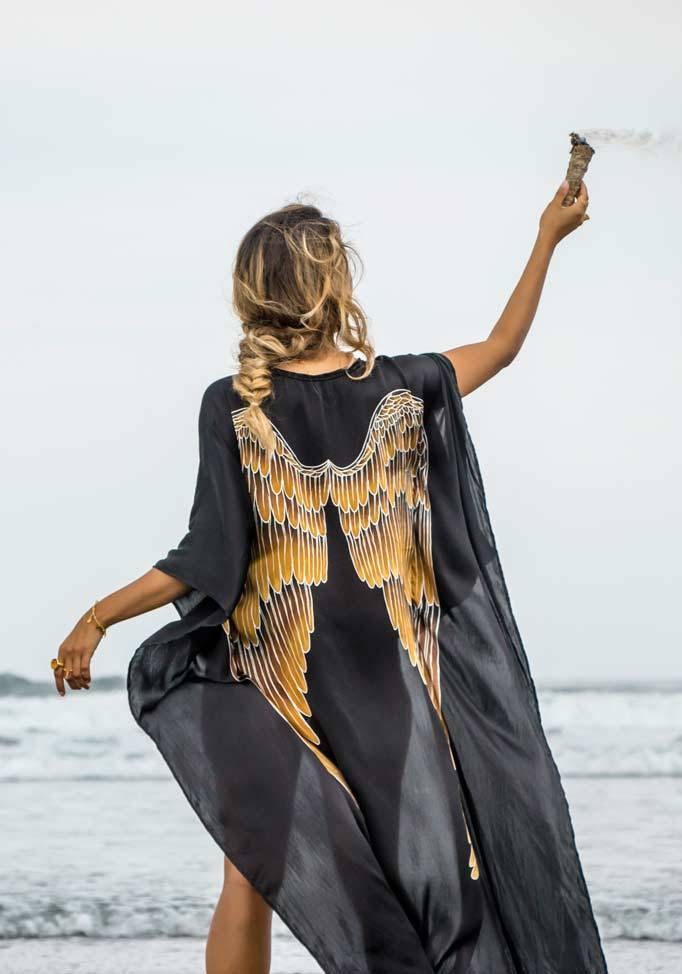 Short Long Silk Angel Wing Kaftan