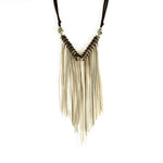 Snake Vertebrae Chevron & Fringe Necklace