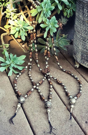 Snake Vertebrae & Ethiopian Prayer Bead Necklace