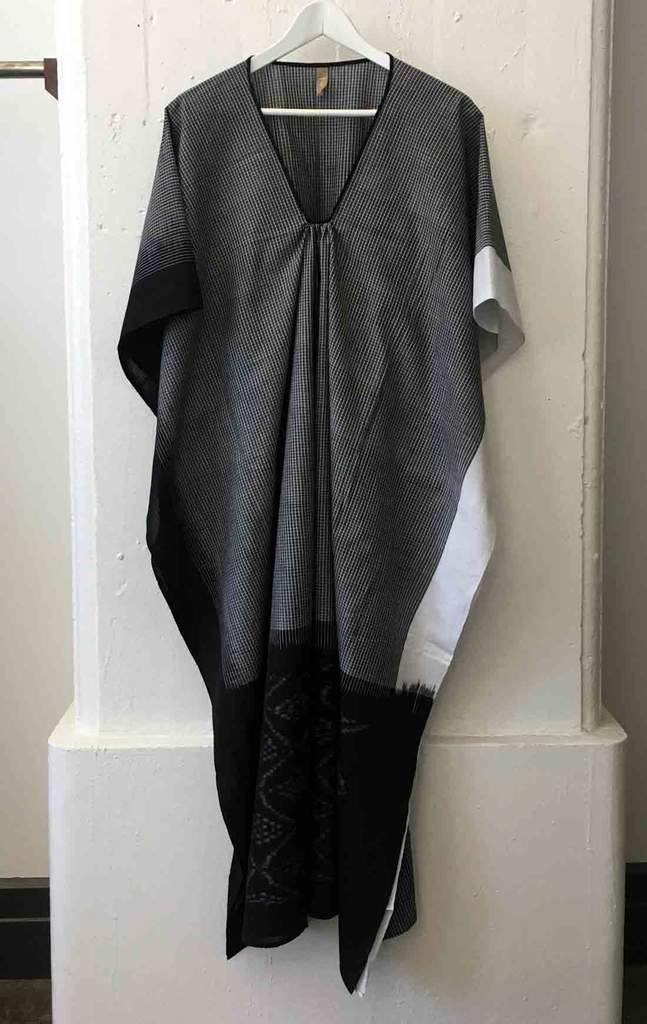 Black White Ikat Caftan by Two New York