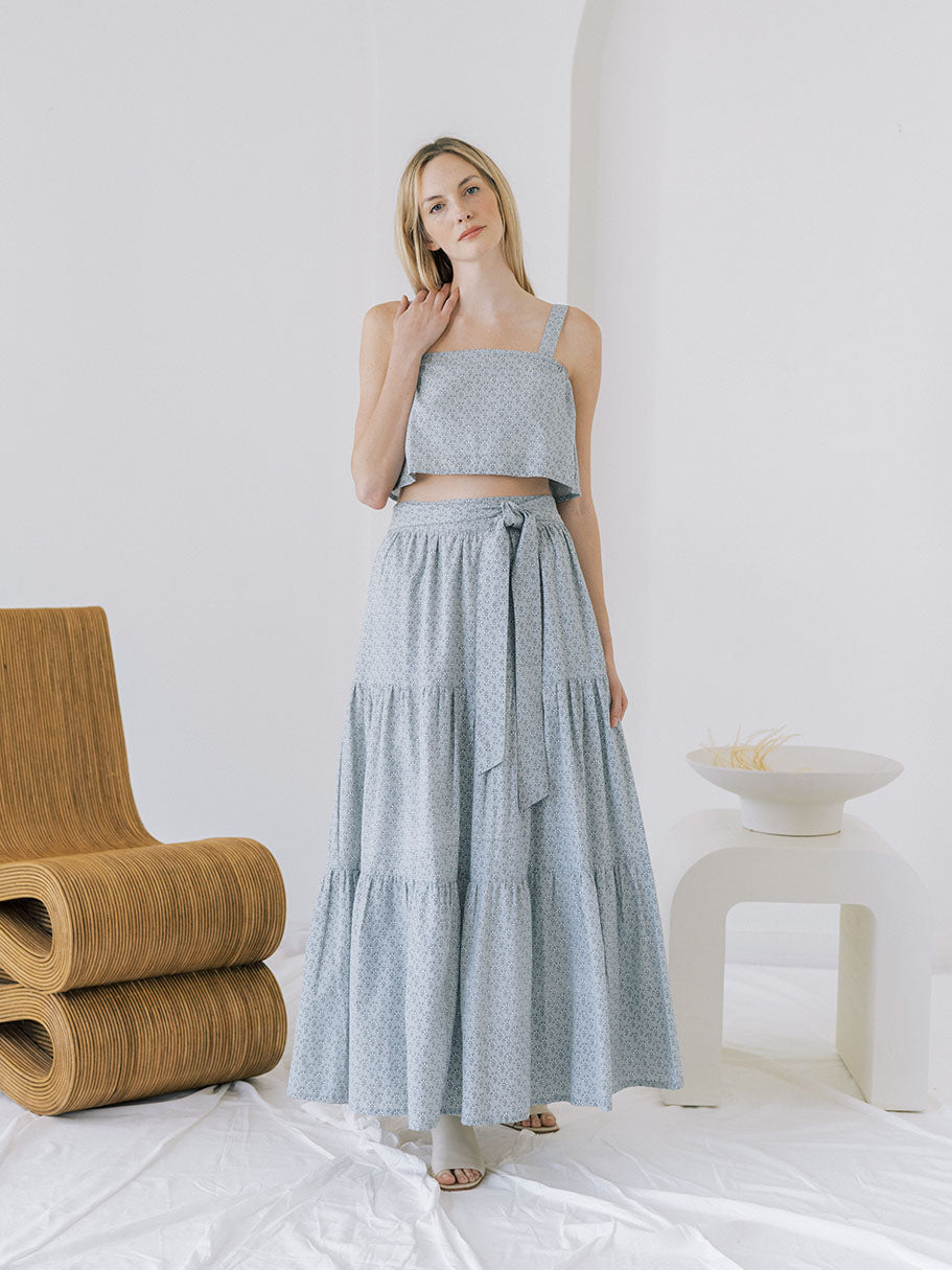 Tiered Maxi Skirt - Indigo Block Print