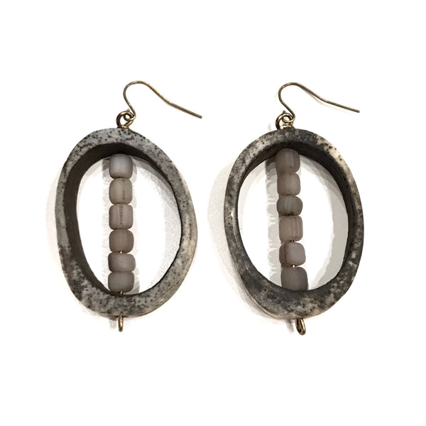 Tribal Gray Horn Earrings by Twine & Twig