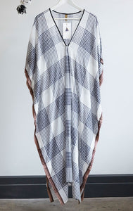 White & Black Plaid Caftan by Two New York