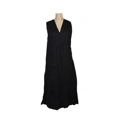 Sleeveless Val dress in black cotton
