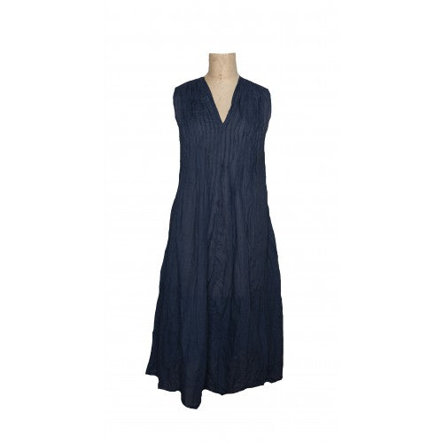 Sleeveless Val dress in navy cotton