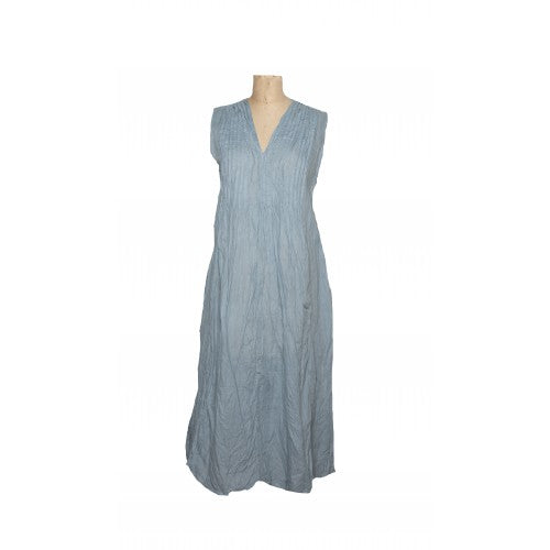 Sleeveless Val dress in pale blue cotton