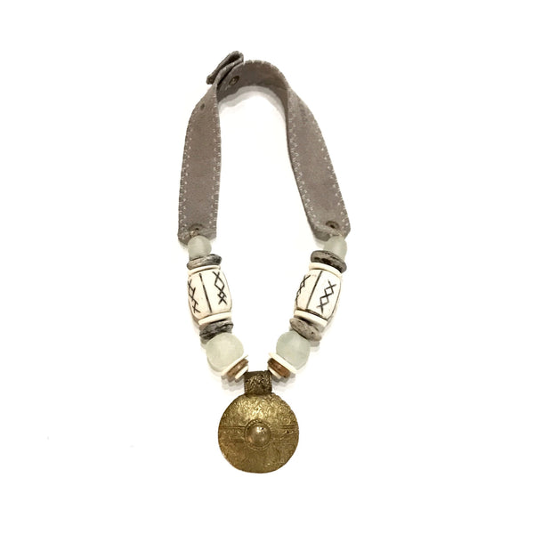 Vintage Brass Pendant Necklace | Air