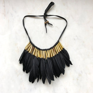Half Feather Collar in Black