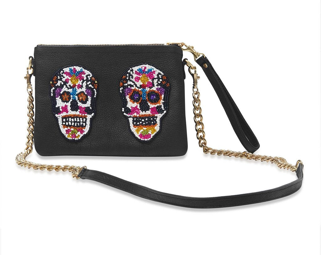 Black Sugar Skull Small Crossbody Bag