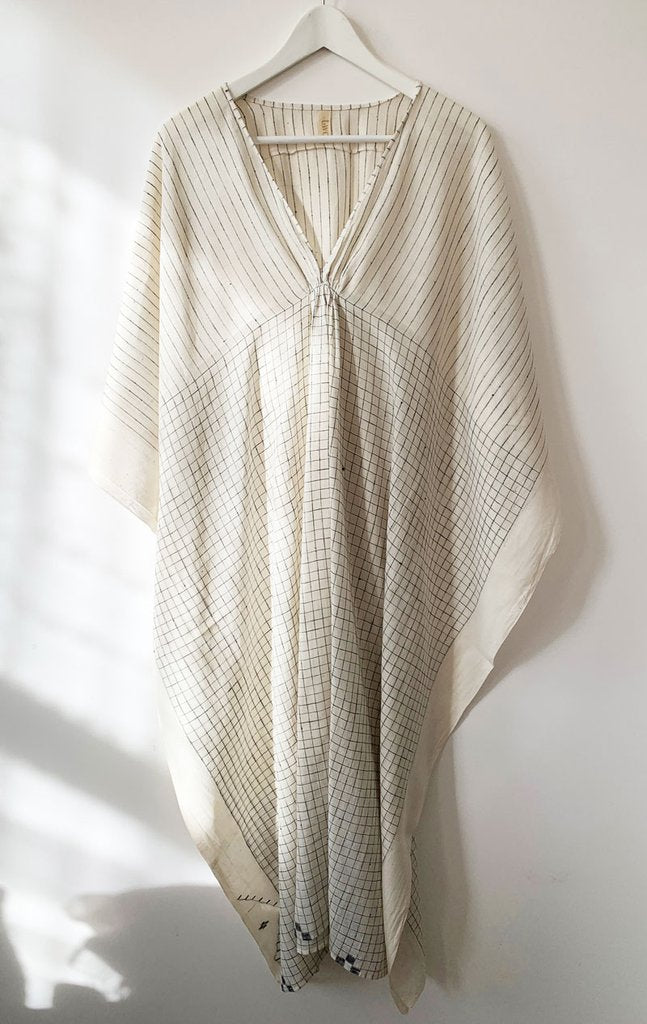 #10 White Sketch V-Neck Kaftan