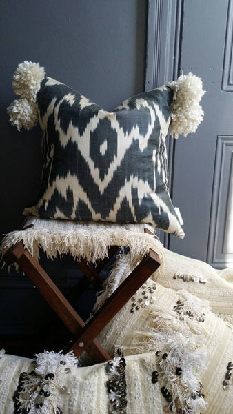 Uzbek Ikat Throw Pillow with Pom poms