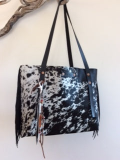 #229 Black and White Hair on Hide Tote with Fringe