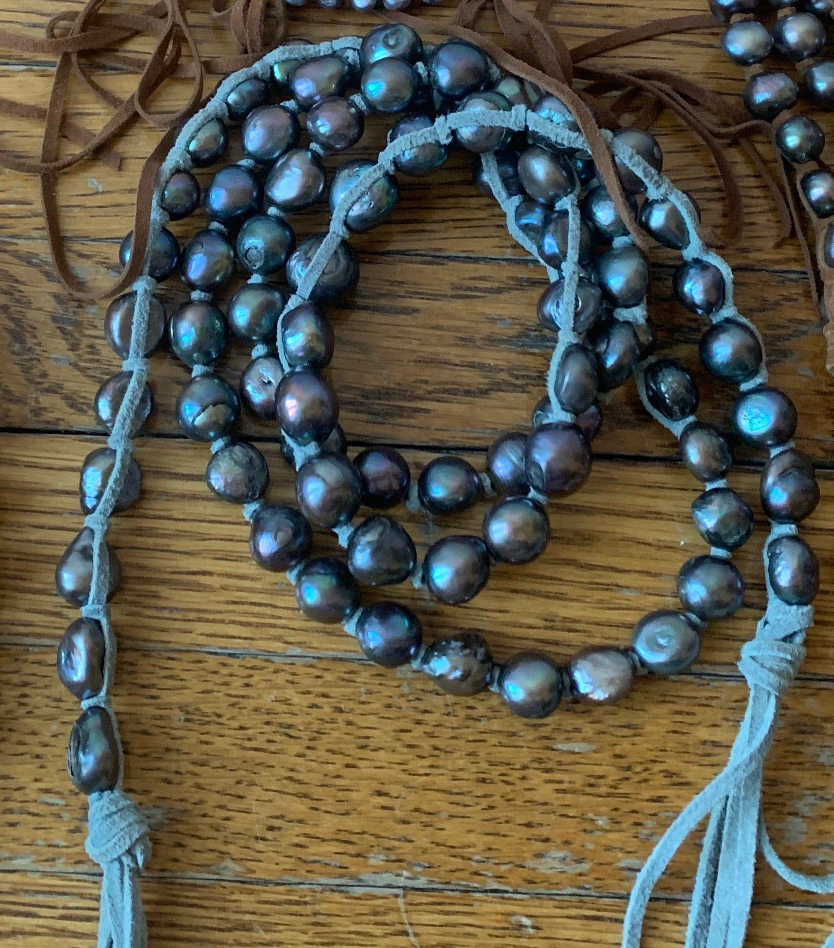 "Large Grey Pearls 46"" Light Grey Suede Necklace"