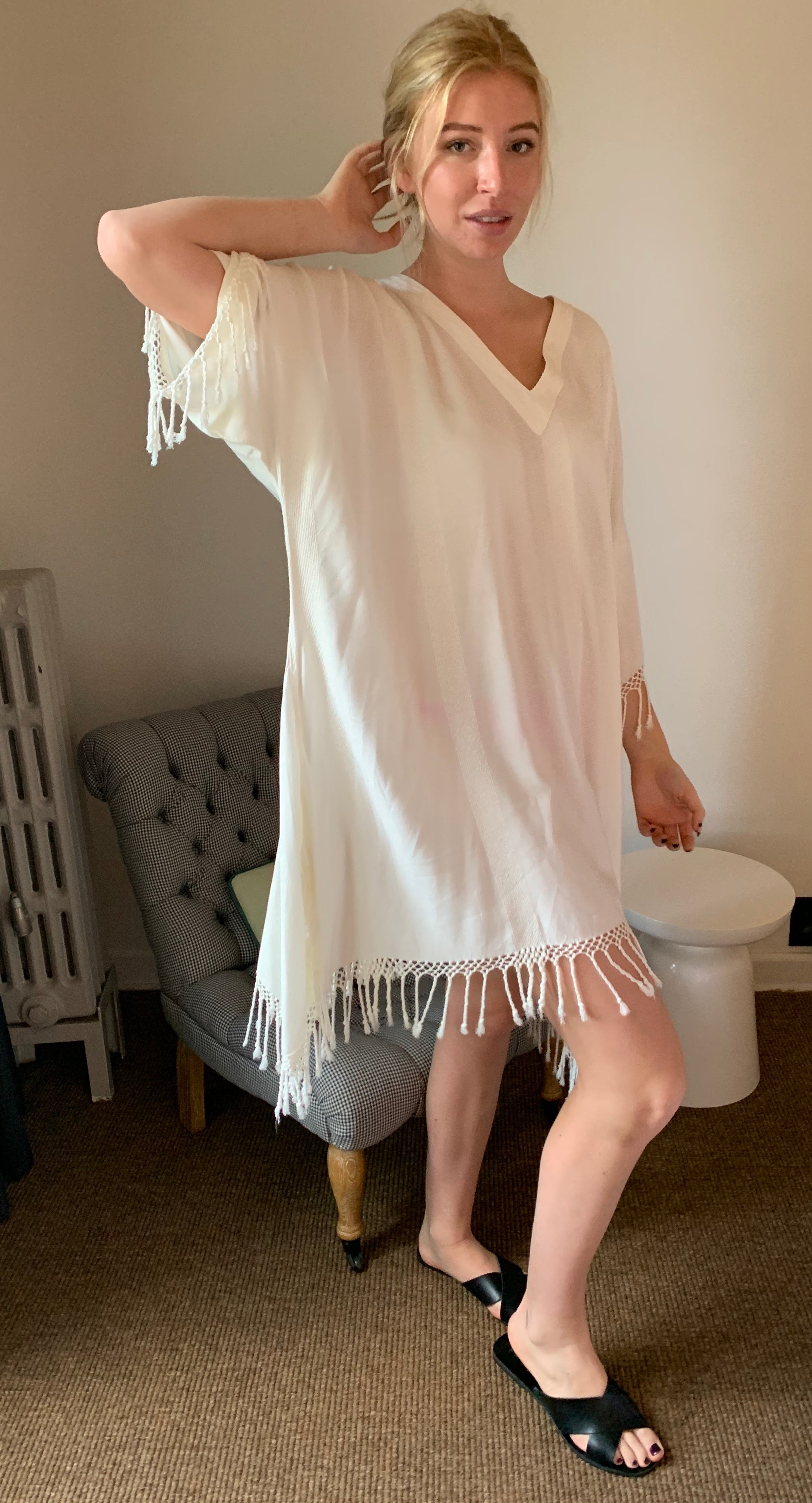 Essouria White Wide Stripe Fringe Kaftan