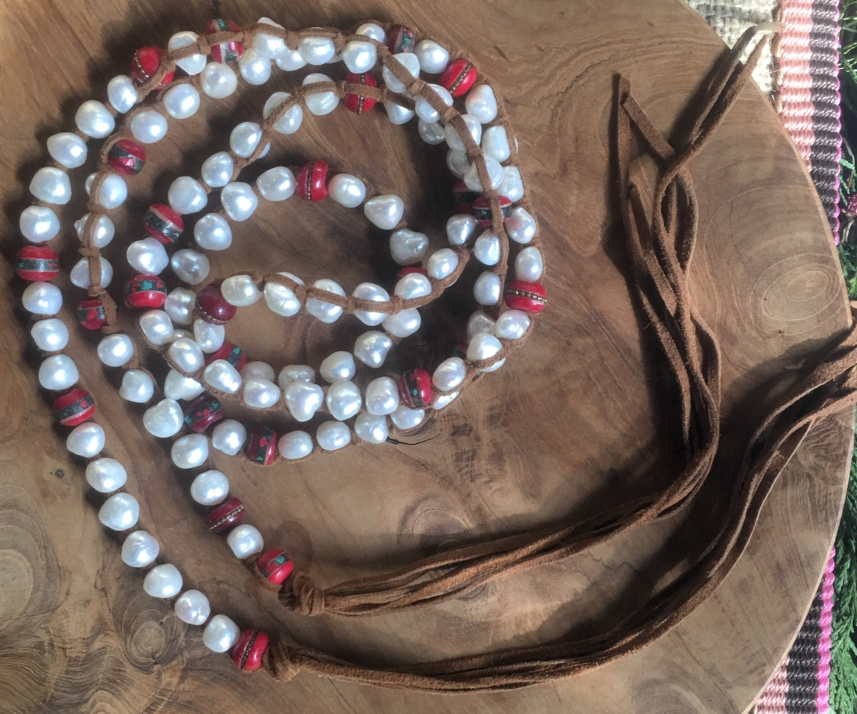 #8 Medium White Pearl Necklace w/ Vintage Mala Beads Necklace