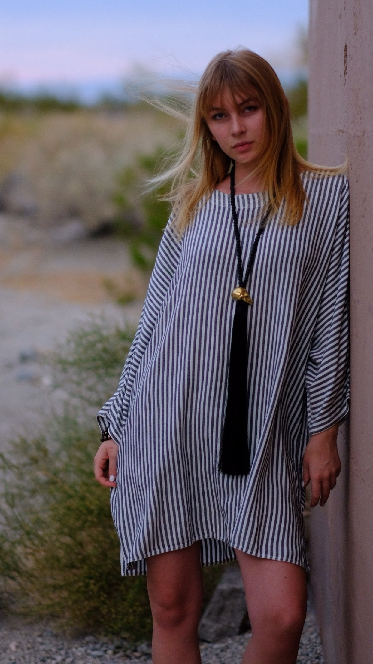 Grey Stripe Short Kaftan